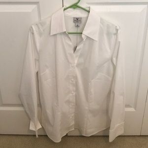 White Button Up Long Sleeve Dress Shirt